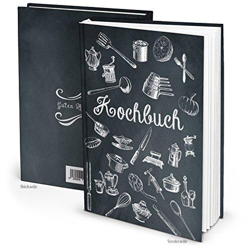 DIY Rezeptbuch klein zum Selberschreiben SCHWARZ WEISS Vintage Nostalgie DIN A5 HARDCOVER Kochbuch Buch zum Meine Rezepte und Lieblingsrezepte einschreiben - Geschenk Küche Kochen Essen (Vegan-kochkurs)
