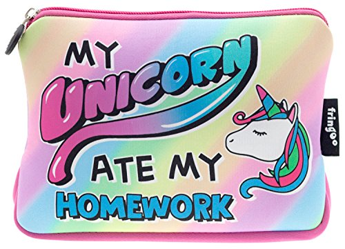 FRINGOO-Girls-Boys-Pencil-Case-Large-Stationery-Pouch-Funny-Cute-Kids-Unicorn-Neoprene-Zipper-Closure-School-Accessories-Pen-Box-22-x-15-cm