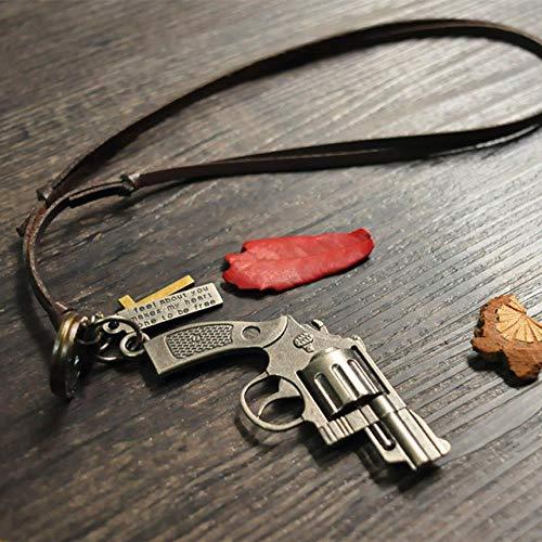 SUNMM Leder Herren Halskette Kreuz Anhänger Punk Verstellbare Seil Kette Herren Schmuck Anhänger Halskette, Revolver