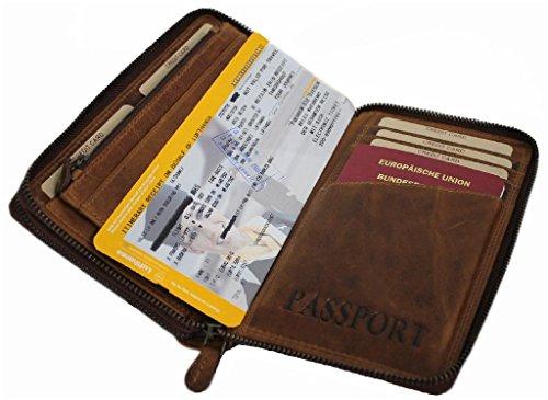 Große Geldbörse Leder Herren Damen Organizer Reisebrieftasche XL Portemonnaie Portmonee Travel Wallet Mappe für Reiseunterlagen Herren-tasche mit Handyfach Vintage Echt-Leder Hill Burry braun 3671 (Wallet Damen-organizer)