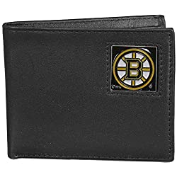 NHL Boston Bruins Leather Bi-Fold Wallet Packaged in Gift Box, Black