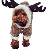 GWELL Hundejacke Hundekostüm Hundepullover mit Ärmel für Hund Katze Winter Cosplay Kostüm Halloween Weihnachten Elch L