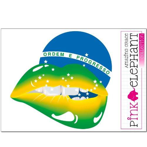Preisvergleich Produktbild pinkelephant Aufkleber - Mund - sexy lips - Fahne - Brasilien - 20,5 cm x 20 cm - Laptop Sticker skin flag