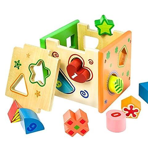 BATTOP Kids Wooden Shape Sorter Toy
