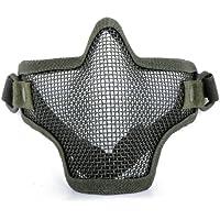 Kingwin elástica ajustable Cinturón Correa Acero media cara máscara protectora de malla (verde)