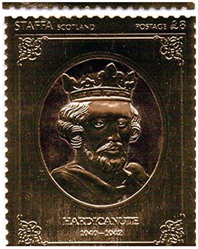 Gold-Briefmarken - Staffa 1977 Königin Silver Jubilee König Hardicanute 23k Goldfolie Briefmarke - Hohe Qualität - nie montiert - Postfrisch (Set Blatt Sammlung König)