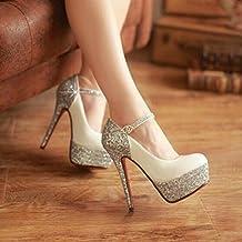 YIXINY Zapatos de tacón Brillante Zapatos De Mujer Zapatos De Tacón Alto Plataforma Impermeable Hebilla Stiletto Damas De Honor Novia Talón 14cm ( Color : Blanco , Tamaño : EU39/UK6/CN39 )