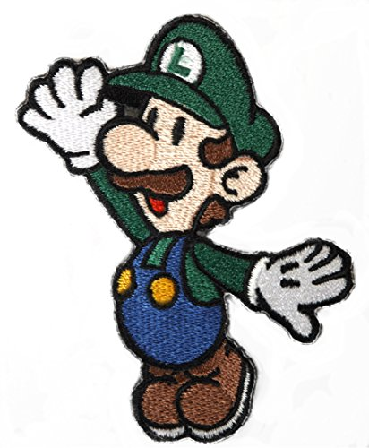 Luigi Patch Embroidered Iron on Badge Aufnäher Kostüm Cosplay Mario Kart/SNES/Mario World/Super Mario Brothers/Mario ()