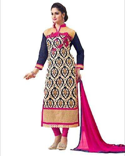 Kumar Women's Chanderi Silk Unstitched Dress Material(2308_Multicolor_FreeSize)