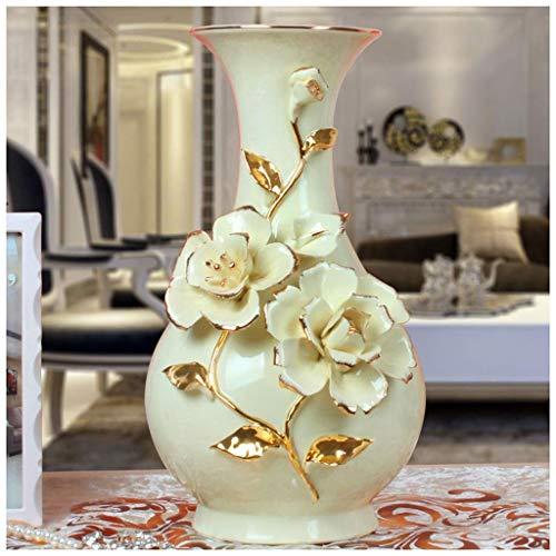 MTX Ltd Vase Jardiniere Home Haushalt Dekoration Keramik Porzellan Gold Rose Wohnzimmer Schreibtisch Jade Porzellan Wein Kabinett Dekoration für Schlafzimmer Wohnzimmer Büro Studie, b - Jade-glas-schreibtisch