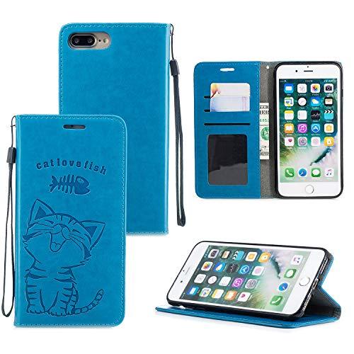 Ostop Brieftasche Hülle für iPhone 8 Plus,iPhone 7 Plus Blau Leder Handyhülle,Cute Katze Liebe Fisch Muster Standfunktion Geldbörse Kartenfach Schutzhülle Magnetverschluss Flip Abdeckung - Muster Flache Geldbörse