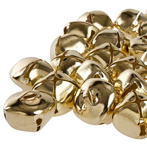 Kleenes Traumhandel 50 Stück 24 mm Kreuzschellen Glöckchen Schellen aus Eisen - mit Öse - Weihnachten (Gold Farbend)