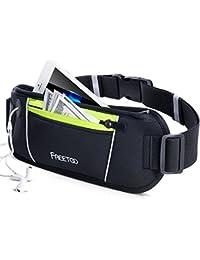 FREETOO Running Belt/ Sac Ceinture Banane Etanche- Portable iPhone 7,GalaxyS5 S6, Note 4/5- Escalade, Jogging, Randonnée, Voyage- Noir et Fluo