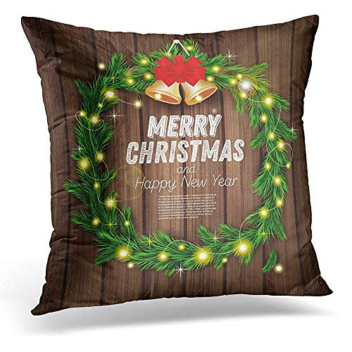 Zierkissenbezüge, Decorative Pillow Cover Tree Christmas Wreath with Green Fir Branch Light Garland Red Bow and Golden Bells on Wooden Ball Throw Pillow Case Square Home Decor Pillowcase 18x18 Inches -