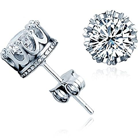 Winter's Secret 18K Fashion Silver Plated Crown Shape Diamond Accented Lover Stud Earring by Winter's