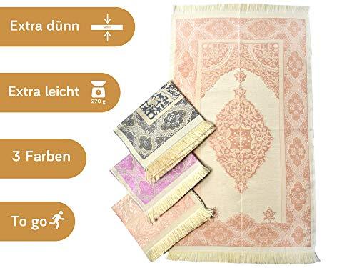 Imanpaper - Muslimische Gebetsteppich Extra dünn in rosa beige | Namaz-lik Seccade, Gebets Matte | Salah Sejadah, islamic prayer mat rug, für das Gebet im Islam - perfekt als Geschenk Idee 1,20x0,68m