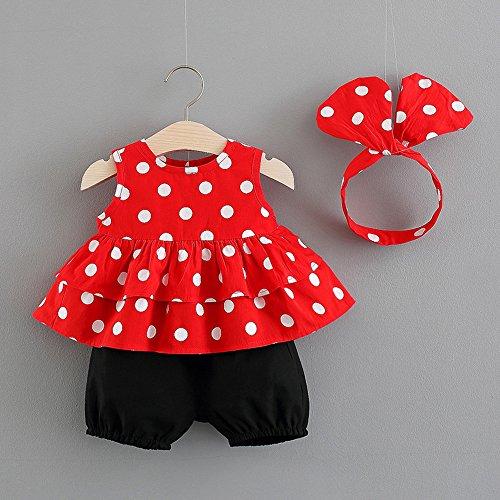 PLOT 3Pcs Toddler Baby Girls Set Dot Printed Tops Shorts Headband Outfits 0-2 T