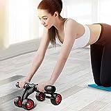 4rueda AB Roller máquina [actualización versión–prevenir Rollover] abdominal ejercicio equipo–Pro Core Fitness oblicuos tonificación entrenamiento equipo de gimnasio en casa máquina de ejercicio con rodilleras y suelo tapón