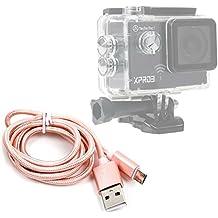 DURAGADGET Cavo Di Carica / Sincronizzazione Per Action Camera Phonect Elephone Explorer 2 - TecTecTec! XPRO3 | XPRO360+ | XPRO 2 - Intova ConneX | DUB | Duo | Nova HD - Connessione USB - MicroUSB - Colore Rosa Gold