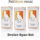 FeliMove Dreier-Set renal (3 x 60 ml) Ergänzungsfuttermittel für Katzen zur Unterstützung der Niere mit Chitosan, EPA, DHA, Calciumphosphat und Heilkräutern