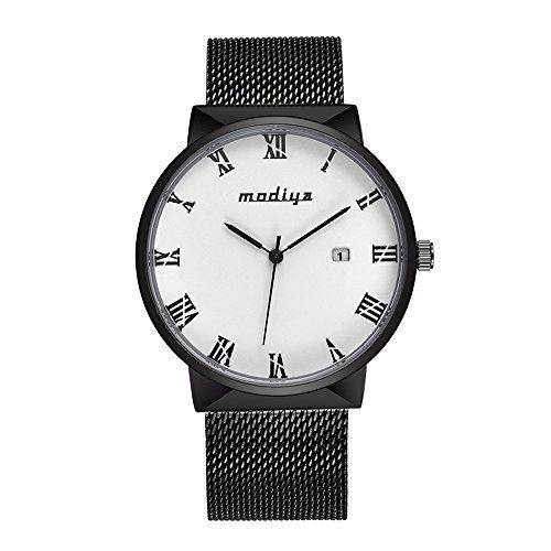 Preisvergleich Produktbild Deloito Herren Ultra dünn Uhr Rostfreier Stahl Mesh-Gürtel Geschäft Uhren Kalender Wasserdicht Quarzuhren (Weiß)