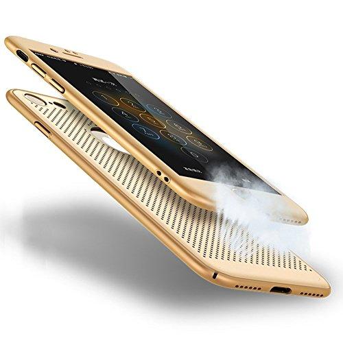 Ysimee Compatible avec Coque iPhone 8/iPhone 7 360 Degrés Double Face avec Film d'Acier Étui de Couverture Anti Scratch et Anti Choc Silicone TPU Bumper Shell Avant et Arrière Respirant Dur PC Case,Or