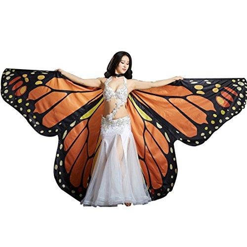 Calcifer Kinder Winkel Flügel Bauchtanz Monarch Schmetterling Engel Isis Flügel mit 2Teleskop Sticks, Orange (Monarch-schmetterlings-flügel Für Kinder)
