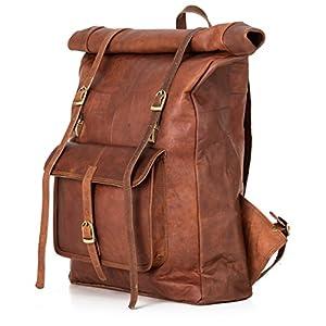 Berliner Bags Leeds XL Roll Top, Vintage Rucksack, Braun