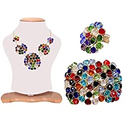 WUJO Necklace for Women American Diamond Crystal Studded Handmade Combo of Pendant Necklace Set with Bracelet and Ring Jewellery Combo for Women and Girl Multicolor