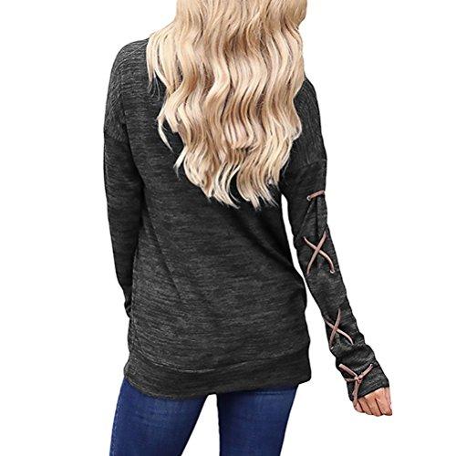 T Shirt Donna Manica Lunga Rotondo Collo Basic Con Tasca Bendare Unico Vintage Eleganti Moda Giovane Hippie Casual Primavera Autunnali T-Shirt Maglietta Shirt Tops Blusa Nero