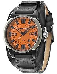 Police PL.94202AEU/17 - Reloj de cuarzo para hombres (con esfera naranja y correa de cuero), color negro