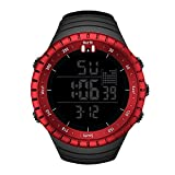 Tomatoa Herren Digitale sockenuhr 30M Wasserdichte Herren Outdoor Sports Watch Leuchtwecker Uhr Cool Sport große Anzeige LED Sportuhr mit Wecker für Herren (Rot, ONE Size)