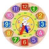 Eleganantimpresionante Reloj de Madera Digital geométrico para Nido con Forma Colorida, Bloques a Juego, Cuerda de Juguete Educativo, Regalo para niños