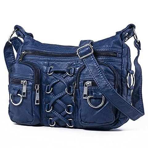 Hengwin Damen Gewaschen Leder Vintage Kleine Schultertasche Umhängetasche Handtaschen mit Viele Reißverschluss Fächer + Extra Schlüsselanhänger (Blau)