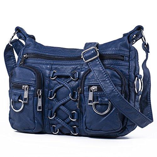 - 514onRIA0eL - Hengying Washed Leather Shoulder Handbag Cross Body Bag with Lots of Pockets for Women Ladies