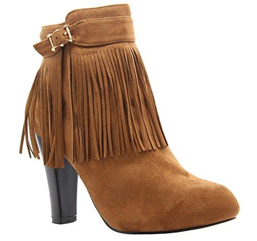 Mesdames Femmes Bloc Haute talon franges Chelsea à fermeture éclair Cheville Bottes Chaussures Taille 3–8 Suède camel