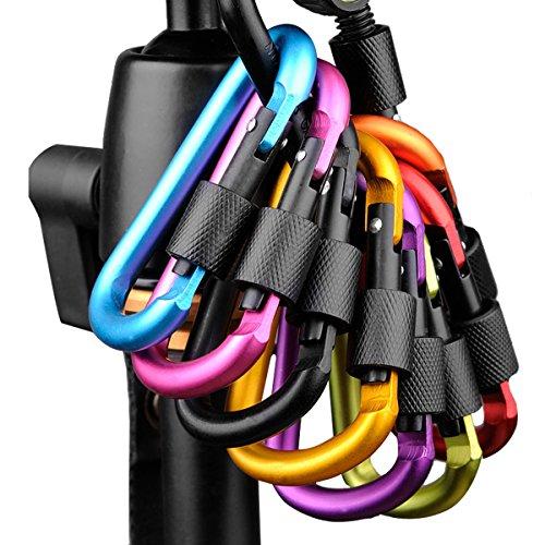 BeYself 6 Pack anneaux en D mousqueton clip Porte Screw Carabiner pour maison, camping, camping, pêche, randonnée, voyage et porte-clés