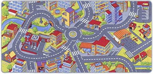 misento 293308 Kinderteppich Straße Spielteppich Teppich, Polyamid, grau, 200.0 x 95.0 x 1.0 cm