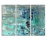 3x40x90cm (Gesamt:130x90cm) 3teiliges Bild auf Leinwand Kunstmalerei blau grün abstrakt Wandbild auf Leinwand als Panorama