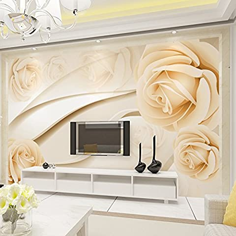 Ohcde Dheark Modern Fashion 3D Wall Mural Minimalist Rose Worm Romantic Wallpaper For Wedding House 3D Wall Paper Papel De Parede 250cmX175cm(98.4 by 68.9 in )