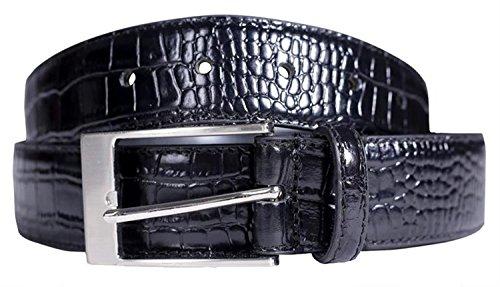 Chocolate Pickle® Neue Herren Schwarz Krokodil Haut Echte Bonded Leder Klassisch Hosen Jeans Gürtel Black M (Denim Jean Black Chocolate)
