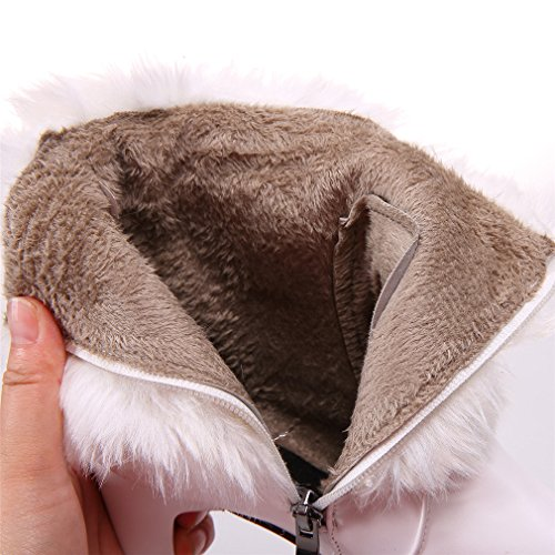 YE Damen Winter High Heels Stiefeletten Plateau mit Fell Warm Gefüttert Glitzer Strass Schleife Blockabsatz 11cm Absatz Stiefel Rosa