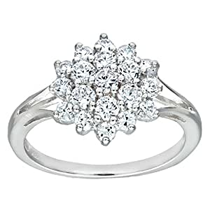 Silver Cubic Zirconia Set Cluster Ring H