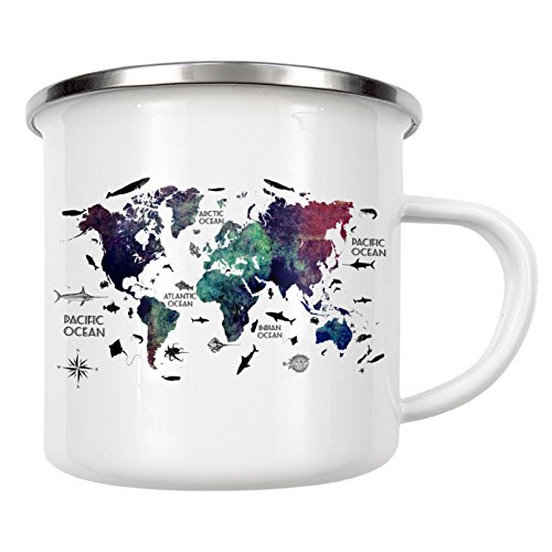 artboxONE Emaille Tasse World map 26 text von Justyna Jaszke - Emaille Becher Kartografie