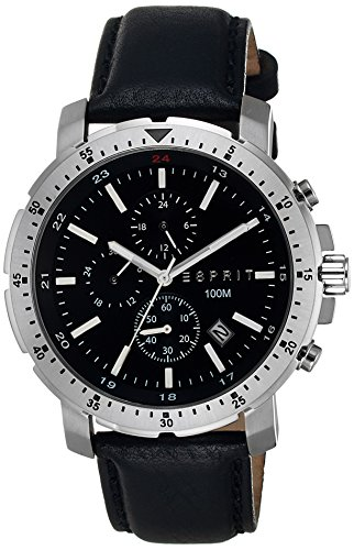 Esprit Nathan Chrono Men's Quartz Watch with Black Dial Chronograph Display and Black Leather Strap ES107521001