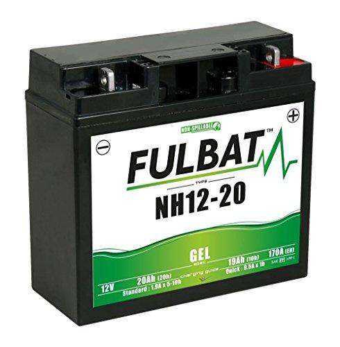 NH12-20 GEL wartungsfreie Batterie von Fulbat 12Volt 20AH verstärkt für Rasentraktor Aufsitzmäher Catelgarden Solo Honda Cooper Sabo Sabre Sentar Brill etc.