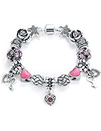 Shimmer Divine Crystal Elements Limited Edition Special Love Heart Pandora Style Magnificent Antique Bracelet...