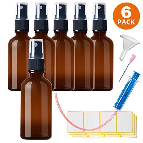 6x50ml Sprühflasche Klein Glasflasche mit Zerstäuber - Apothekerglas spruehflasche aus Braunglas Set Inklusive 16 Hilfszubehör