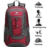 CAMEL Wandern Rucksack leichte Reise Packable langlebig wasserdicht Sport Daypack, für Camping Angeln Reise Radfahren Skifahren Blau (Rot-1)