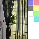 LianLe Gardinen Vorhang Schlaufenschal Dekoschal Transparent 100 * 200 cm Farbig für Wohnzimmer Hochzeit Party Deko (Schwarz)